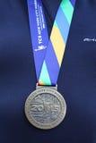 Unidentified 2015 New York City Marathon runner wears medal in Manhattan Royalty Free Stock Images