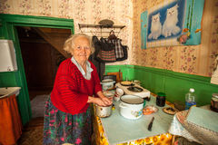 Unidentified old woman Veps - small Finno-Ugric people living on territory of Leningrad region in Russia Stock Images