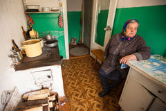 Unidentified old woman Veps - small Finno-Ugric people living on territory of Leningrad region Stock Photos