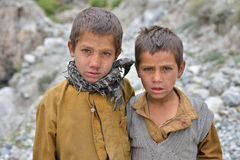 Unidentified Pakistani boys in Chilas, Pakistan Royalty Free Stock Photography