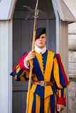 Unidentified Papal Swiss guard standing with a halberd circa Royalty Free Stock Photo