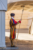 Unidentified Papal Swiss guard standing with a halberd circa Royalty Free Stock Image