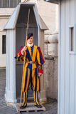 Unidentified Papal Swiss guard standing with a halberd circa Royalty Free Stock Images