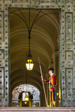 Unidentified Papal Swiss guard standing at the Vatican Museum door Royalty Free Stock Photos