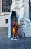 unidentified Papal Swiss guard standing at the Vatican Museums door in the Vatican Royalty Free Stock Photos