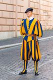 Unidentified papal Swiss guards in Vatican Stock Photos