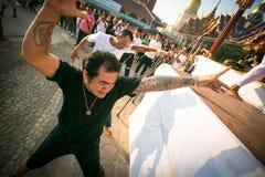 Unidentified participant Master Day Ceremony able Khong Khuen - spirit possession during the Wai Kroo at Wat Bang Pra Royalty Free Stock Image