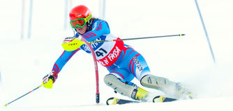 Unidentified participant of ski race Royalty Free Stock Photo
