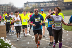 Unidentified participants during the annual Krakow international Marathon. Stock Photography