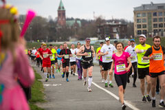 Unidentified participants during the annual Krakow international Marathon. Royalty Free Stock Photography