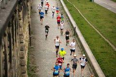 Unidentified participants during the annual Krakow international Marathon. Royalty Free Stock Photo