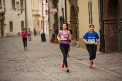 Unidentified participants during the annual Krakow international Marathon. Royalty Free Stock Image