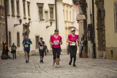 Unidentified participants during the annual Krakow international Marathon. Stock Photo