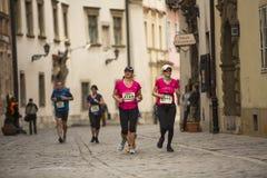 Unidentified participants during the annual Krakow international Marathon. Stock Photo