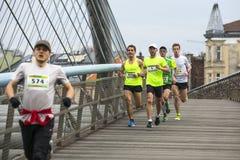 Unidentified participants during the annual Krakow international Marathon. Royalty Free Stock Photos