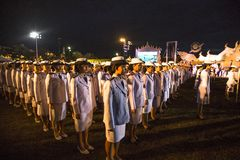 Unidentified participants in the celebration of the 87th birthday of Thailand King Bhumibol Adulyadej Stock Image