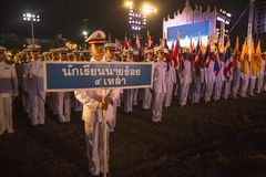 Unidentified participants in the celebration of the 87th birthday of Thailand King Bhumibol Adulyadej Stock Photography