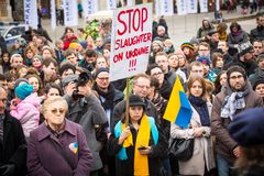 Unidentified participants during demonstration on Main Square, in support of Independence Ukrainein Stock Images
