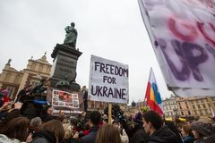 Unidentified participants during demonstration on Main Square, in support of Independence Ukrainein Royalty Free Stock Images