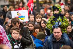 Unidentified participants during demonstration on Main Square, in support of Independence Ukrainein. Royalty Free Stock Photo