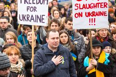 Unidentified participants during demonstration on Main Square, in support of Independence Ukrainein . Royalty Free Stock Photography