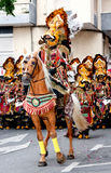 Unidentified participants at Fiesta. ALICANTE, SPAIN - JUNE 8: Unidentified participants at Fiesta Moros and Cristianos, costume parade on the streets of Royalty Free Stock Photos