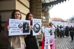 Unidentified participants during protest near Cracow Opera Royalty Free Stock Photos
