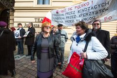 Unidentified participants during protest near Cracow Opera Royalty Free Stock Photo