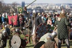 Unidentified participants of Rekawka - Polish tradition, celebrated in Krakow Stock Photos