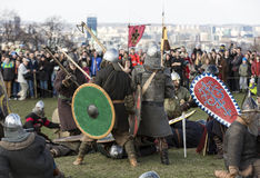 Unidentified participants of Rekawka - Polish tradition, celebrated in Krakow Royalty Free Stock Photo