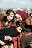 Unidentified participants of Rekawka - Polish tradition, celebrated in Krakow on Tuesday after Easter. Royalty Free Stock Photos