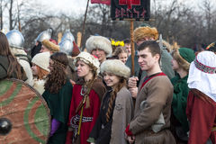 Unidentified participants of Rekawka - Polish tradition, celebrated in Krakow on Tuesday after Easter. Royalty Free Stock Photography