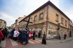 Unidentified participants of the Way of the Cross on Good Friday celebrated at the historic center of Krakow. Royalty Free Stock Photos