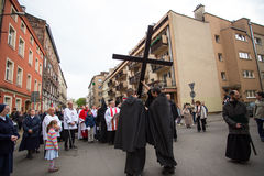 Unidentified participants of the Way of the Cross on Good Friday celebrated at the historic center of Krakow. Stock Photography