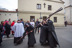 Unidentified participants of the Way of the Cross on Good Friday celebrated at the historic center of Krakow. Stock Image
