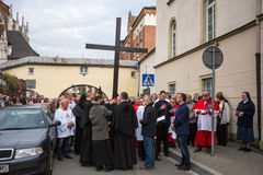 Unidentified participants of the Way of the Cross on Good Friday celebrated at the historic center. Royalty Free Stock Image