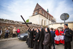 Unidentified participants of the Way of the Cross on Good Friday celebrated Stock Photography