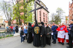 Unidentified participants of the Way of the Cross on Good Friday celebrated. Royalty Free Stock Photo