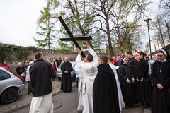 Unidentified participants of the Way of the Cross on Good Friday celebrated . Stock Photos