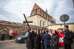 Unidentified participants of the Way of the Cross on Good Friday celebrated. Stock Photography