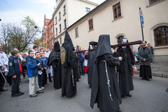 Unidentified participants of the Way of the Cross on Good Friday celebrated Royalty Free Stock Images