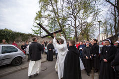 Unidentified participants of the Way of the Cross on Good Friday celebrated Royalty Free Stock Photo