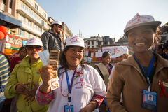 Unidentified participants at World AIDS Day on Durbar Square Stock Photos