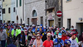 Unidentified partipants of L'Eroica, Italy. GAIOLE IN CHIANTI, ITALY - 5 OCT. 2014: Unidentified participants of L'Eroica, a historic public cycling event for stock video footage