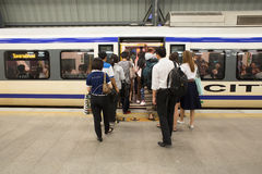 Unidentified passengers walks in Suvarnabhumi Airport Rail Link Train Stock Photography