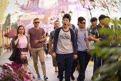 Unidentified pedestrian asian tourists crowd on Mosow downtown s. Moscow, Russia, September 7, 2018: Unidentified pedestrian asian tourists crowd on Mosow stock photos