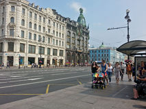 Unidentified pedestrians at Nevsky prospect. Saint-Petersburg, Russia Royalty Free Stock Image