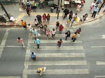 Unidentified pedestrians at Rat Prasong crossing Royalty Free Stock Images
