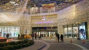 Unidentified people around entrance door to Vadiistanbul shopping mall, istanbul, Turkey stock photos