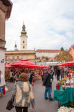 Unidentified people on a busy day at Dolac market in Zagreb Royalty Free Stock Photo